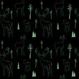 Modello senza cuciture di inverno con i cervi nel fondo scuro della foresta illustrazione di stock
