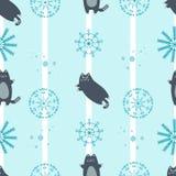 Modello senza cuciture di inverno con i gatti svegli Immagine Stock Libera da Diritti