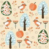 Modello senza cuciture di inverno sveglio con gli uccelli nella foresta, Immagine Stock