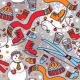 Modello senza cuciture di inverno sveglio con il pupazzo di neve e lo sci Immagini Stock