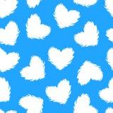 Modello senza cuciture di inverno di vettore Illustrazione bianca del cuore molle lanuginoso isolata su fondo blu royalty illustrazione gratis