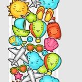 Modello senza cuciture di kawaii di viaggio con gli scarabocchi svegli Raccolta di estate dei personaggi dei cartoni animati alle Immagini Stock Libere da Diritti