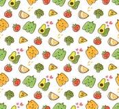 Modello senza cuciture di kawaii di verdura e della frutta illustrazione vettoriale