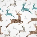Modello senza cuciture di lerciume d'annata della renna di Buon Natale. Fotografia Stock Libera da Diritti