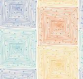 Modello senza cuciture di lerciume lineare astratto Fondo senza fine con i labirinti labirinto Struttura disegnata a mano di vett Fotografia Stock