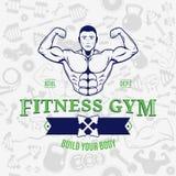 Modello senza cuciture di Logo Template Over Fitness Icons della palestra di forma fisica Fotografie Stock
