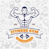 Modello senza cuciture di Logo Template Over Fitness Icons della palestra di forma fisica Immagine Stock Libera da Diritti