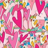 Modello senza cuciture di Love Story di conversazione dell'uccello Immagini Stock Libere da Diritti
