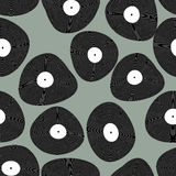 Modello senza cuciture di LP del vinile Retro priorità bassa di musica Dischi a del vinile Immagini Stock