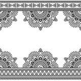 Modello senza cuciture di Mehndi dell'indiano con gli elementi floreali del confine per la carta ed il tatuaggio su fondo bianco illustrazione di stock