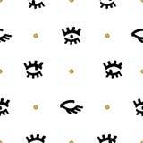 Modello senza cuciture di modo d'avanguardia, occhi neri comici di schizzo, punto dorato Fotografia Stock
