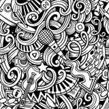 Modello senza cuciture di musica disegnata a mano di scarabocchi del fumetto Fotografie Stock Libere da Diritti