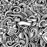 Modello senza cuciture di musica disegnata a mano di scarabocchi del fumetto Fotografia Stock Libera da Diritti