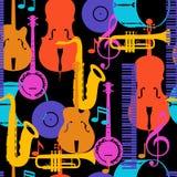 Modello senza cuciture di musica di jazz con gli strumenti musicali illustrazione vettoriale