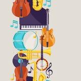 Modello senza cuciture di musica di jazz con gli strumenti musicali illustrazione di stock