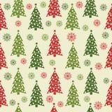 Modello senza cuciture di Natale con gli alberi di Natale ed i fiocchi di neve illustrazione vettoriale