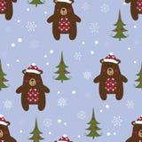 Modello senza cuciture di Natale con gli orsi illustrazione di stock