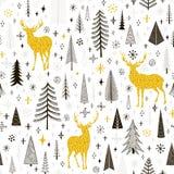 Modello senza cuciture di Natale con i cervi, i fiocchi di neve e l'abete rosso Immagini Stock