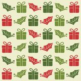 Modello senza cuciture di Natale con i contenitori ed il vischio di regalo illustrazione vettoriale