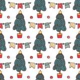 Modello senza cuciture di Natale con il Babbo Natale, i cervi, l'albero, la decorazione, i fiocchi di neve e le scatole Illustraz royalty illustrazione gratis
