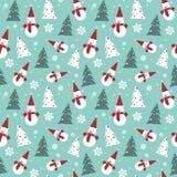Modello senza cuciture di Natale con il concetto del fondo della carta da imballaggio dell'ornamento di vacanze invernali del pup Fotografia Stock