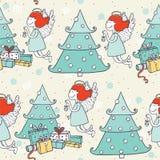 Modello senza cuciture di natale con l'angelo disegnato a mano di volo e l'albero di Natale Scarabocchi nello stile grafico sempl Fotografie Stock