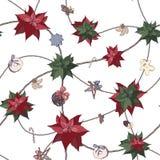 Modello senza cuciture di Natale con l'euphorbia pulcherrima e gli elementi della decorazione tradizionale: dolci e giocattoli, c royalty illustrazione gratis