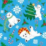 Modello senza cuciture di natale con l'orso polare Fotografia Stock