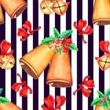 Modello senza cuciture di Natale con la campana royalty illustrazione gratis