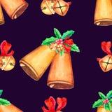 Modello senza cuciture di Natale con la campana illustrazione di stock