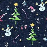 Modello senza cuciture di Natale con la grande raccolta degli elementi luminosi del nuovo anno fatti nel vettore Fotografia Stock Libera da Diritti