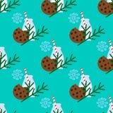 Modello senza cuciture di Natale con latte, il biscotto ed il ramo dell'albero di Natale Immagini Stock Libere da Diritti