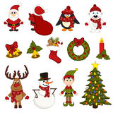 Modello senza cuciture di Natale con Santa, pinguino, cervo, orso, pupazzo di neve, elfo Fotografia Stock