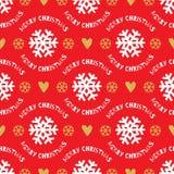 Modello senza cuciture di Natale d'avanguardia Bianco disegnato a mano, fiocchi di neve dell'oro, fondo rosso Fotografia Stock