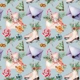 Modello senza cuciture di Natale dell'acquerello con i pattini Buste dipinte a mano, biscotti, spezie con i rami dell'abete e dec illustrazione di stock