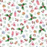 Modello senza cuciture di Natale dell'acquerello con le bacche, i fiori dell'agrifoglio ed i regali su fondo bianco fotografia stock