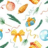 Modello senza cuciture di Natale dell'acquerello Struttura con i rami dell'abete, giocattoli di Natale, palle, regali, arco illustrazione di stock