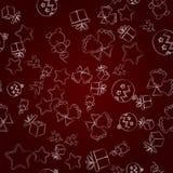 Modello senza cuciture di natale, illustrazione I simboli del nuovo anno su una pendenza di Borgogna illustrazione di stock