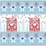 Modello senza cuciture di Natale nordico scandinavo blu-chiaro, blu scuro e rosso con l'uomo di pan di zenzero, stelle, fiocchi d Fotografia Stock