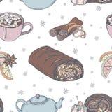 Modello senza cuciture di natale sveglio di cottura tradizionale, dei dolci e degli elementi Spezie, decorazione, cottura, bevand illustrazione di stock