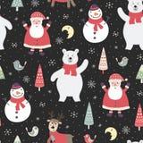 Modello senza cuciture di notte di Natale con i caratteri svegli: orso polare, Santa Claus royalty illustrazione gratis