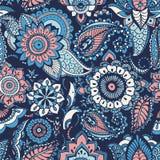 Modello senza cuciture di Paisley del turco con i motivi di buta e gli elementi floreali arabi di mehndi su fondo blu colorful illustrazione vettoriale