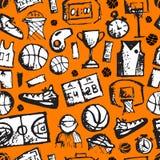 Modello senza cuciture di pallacanestro, schizzo per il vostro royalty illustrazione gratis