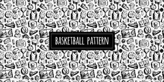 Modello senza cuciture di pallacanestro, schizzo per la vostra progettazione Immagine Stock Libera da Diritti