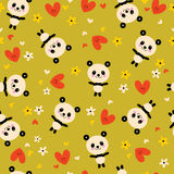 Modello senza cuciture di Panda Bears Flowers And Hearts Immagine Stock