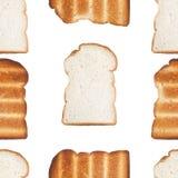 Modello senza cuciture di pane e di pane tostato affettati Fotografie Stock Libere da Diritti