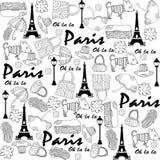 Modello senza cuciture di Parigi di scarabocchio Fotografia Stock