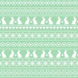 Modello senza cuciture di Pasqua, carta - stile scandinavo del maglione Fondo verde e bianco di festa della molla di vettore Fotografia Stock