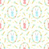 Modello senza cuciture di Pasqua con i conigli, le carote ed i fiori su un fondo trasparente Illustrazione disegnata a mano di ve illustrazione di stock
