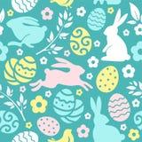 Modello senza cuciture di Pasqua con le uova ed i conigli royalty illustrazione gratis